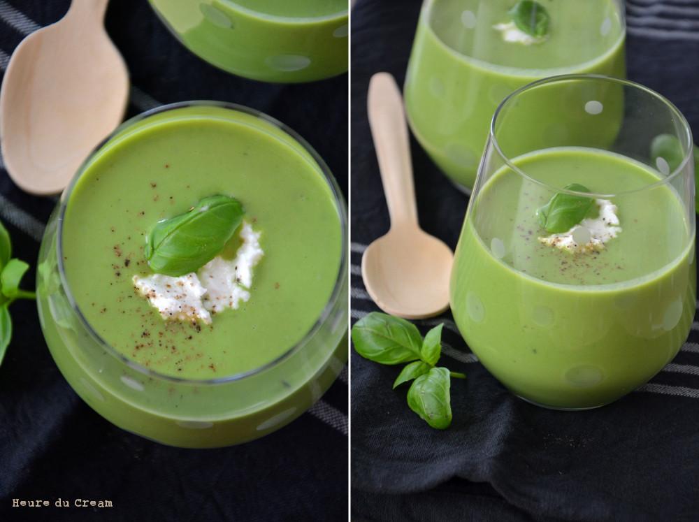 Soupe petits pois ricotta et basilic
