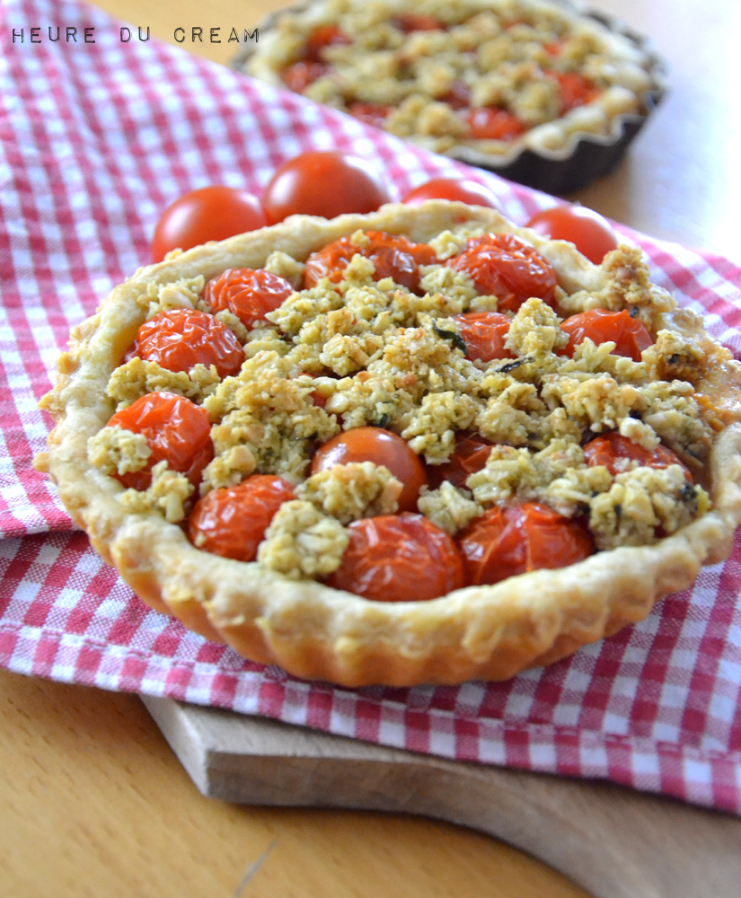 tartelettes tomates et crumble de pesto