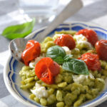 Spaetzle au basilic, tomates rôties