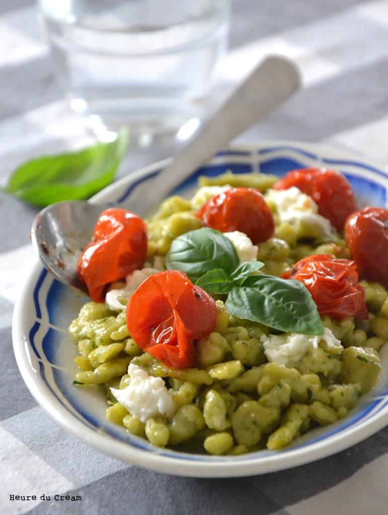 spaetzle basilic tomates rôties